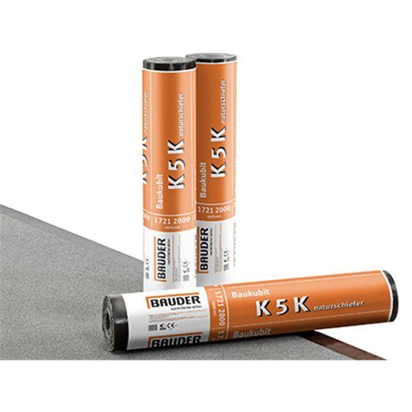 Bauder Baukubit K5K Schiefer/Folie | Abm.: 5 m x 1,0 m (5 m²/Rolle) | 24 Rollen/Palette