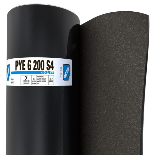 SOPREMA PYE G200 S4 Sand/Folie | Abm.: 5 m x 1,0 m (5 m²/Rolle) | 30 Rollen/Palette