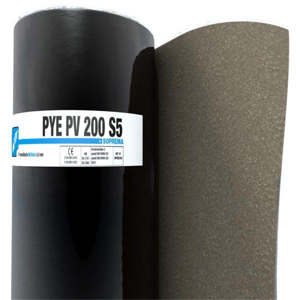 SOPREMA PYE PV200 S5 Sand/Folie | Abm.: 5 m x 1,0 m (5 m²/Rolle) | 24 Rollen/Palette