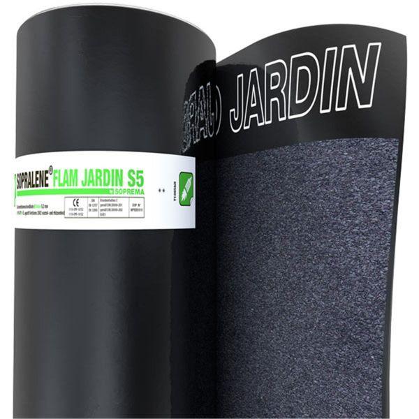 SOPRALENE FLAM JARDIN S5 Schiefer/Folie | Abm.: 5 m x 1,0 m (5 m²/Rolle) | 24 Rollen/Palette